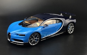 1/18 GT Autos GTA Bugatti Chiron White Blue Diecast Open