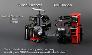 1/18 Hunter Diecast Diorama Tire Changer, Wheel Balancer