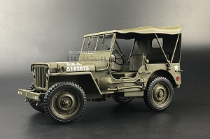 1/18 1941 Jeep Willys MB US ARMY Truck WWII Green Welly