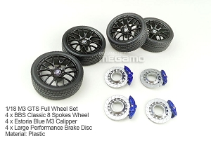 1/18 Kyosho BMW e92 M3 spare parts for e90 e91 e92 e93 turning Full BBS Wheel Set w/ Braking