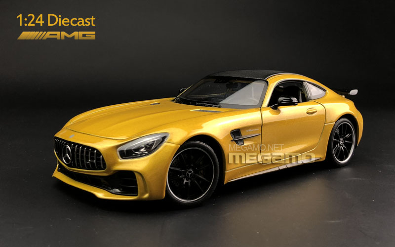 1 24 Welly Fx Mercedes Amg Gt R Yellow Diecast Model Free Shipping