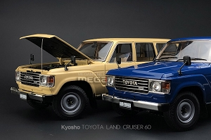 1/18 Kyosho Toyota Land Cruiser 60 (FJ60) STD 1980 Beige Blue Diecast Full Open