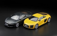 1/18 Audi R8 V10 Plus Coupe Dealer Edition Gray Yellow i-SCALE