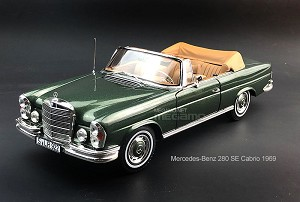 1/18 Norev Mercedes-Benz 280 SE Cabrio 1969 Green Diecast fully open