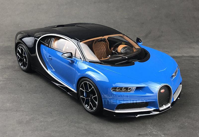 1 18 kyosho bugatti chiron blue black closed bodyshell black diecast model. Black Bedroom Furniture Sets. Home Design Ideas