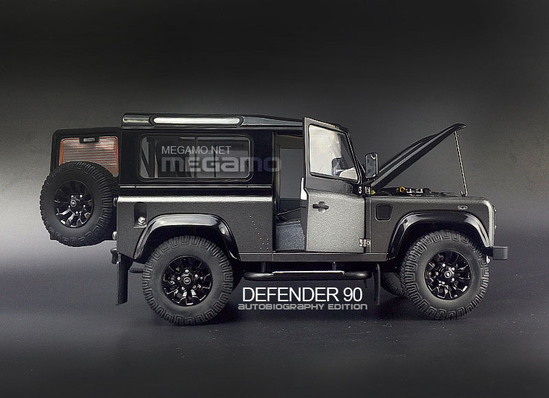 1 18 kyosho land rover defender 90 d90 autobiography edition matte corris grey black. Black Bedroom Furniture Sets. Home Design Ideas