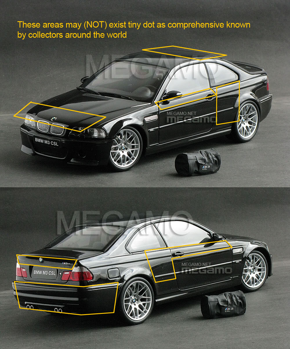 Bmw M3: 1/18 Kyosho BMW E46 M3 CSL 2003 Black W/ Bag BBS Carbon