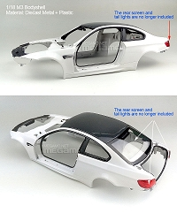 1/18 Kyosho BMW e92 M3 spare parts for e90 e91 e92 e93 turning Diecast Bodyshell White